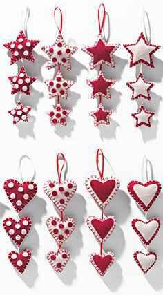 Aprende como crear corazones y estrellas de navidad hecha con tela