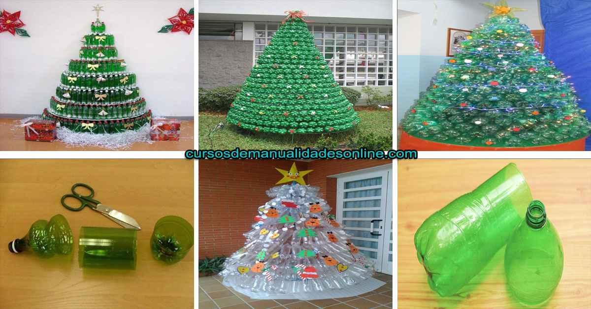 Aprende a realizar un árbol de navideño con botellas plásticas