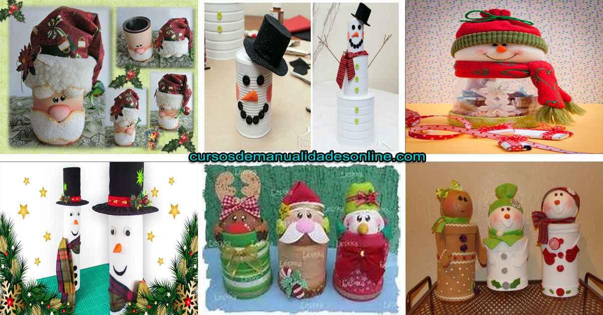 Aprende a crear muñeco de nieve y dulcero navideño con latas