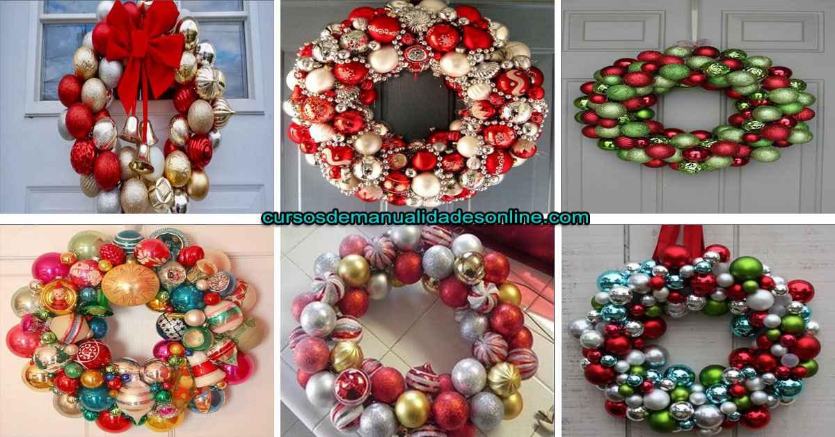 Aprende como hacer corona navideña con esferas