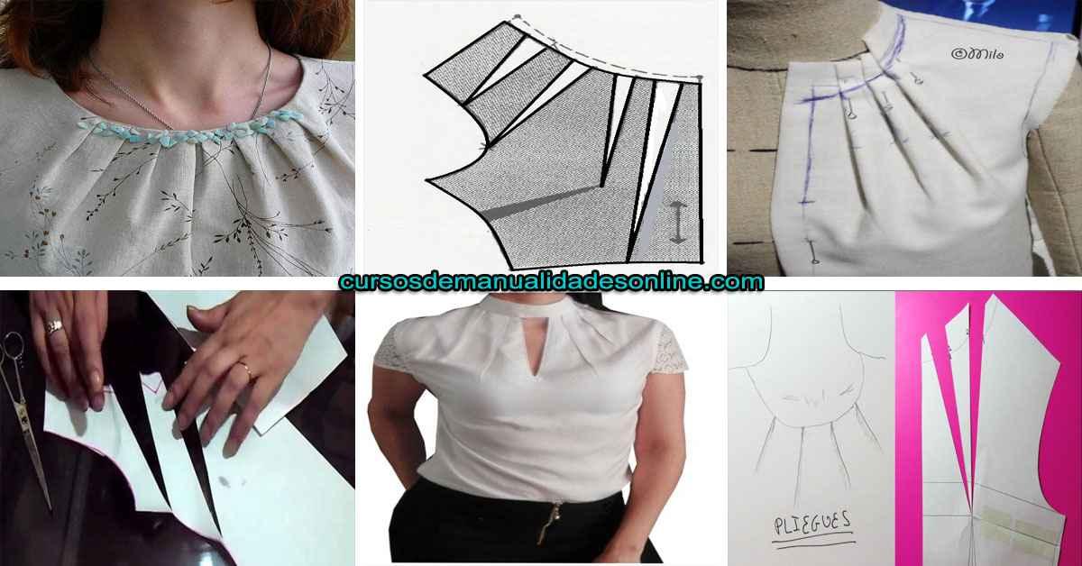 Aprende como hacer pliegues en el molde del escote de una blusa