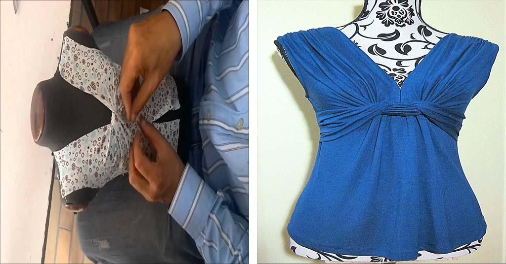 Aprende como confeccionar una blusa con nudo en el pecho